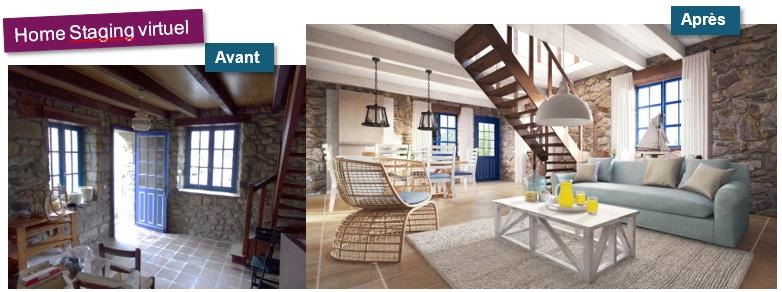 Aménagement virtuel ou home staging virtuel réalisée par l'agence Cekoya Immobilier